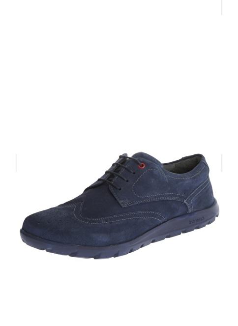 Comienzo %100 Suni Deri Bağcıklı Ayakkabı Mavi